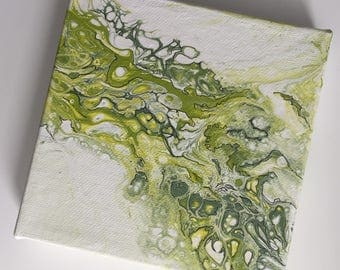 """Abstract - Green, Yellow and White Fluid Art Painting with black accents 5"""" x 5"""""""