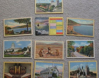 10 Assorted Linen Postcards of UT, Scenic, Fair to Very Good Condition