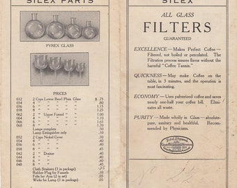 1918 Silex Percolator Co Boston MA Invoice with 1916 Silex Price List Brochure