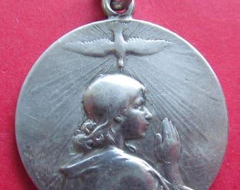 Antique Silver  French Jesus Saint John Holy Spirit Descending On The Lamb Of God Religious Medal By Vernon SS185