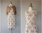 Vintage 1950s Dress Set   50s Floral Print Wiggle Dress   1950s Wiggle Dress   1950s Linen Dress and Bolero jacket   50s Dress- (small)