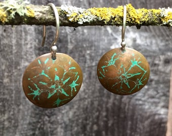 Etched Copper Earrings with Green Patina, Flower, Mandala
