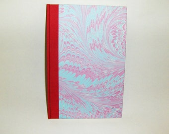 Marbled paper  notebook. Hand bounded 80 sheets.   cm 14,5 x 21 cm.  1020