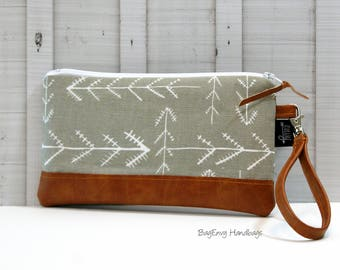 READY To SHIP - Stitched Arrows in Driftwood Grey with Vegan Leather - Zippered Wristlet Clutch /  Bridesmaid Gift- Accessory Make Up Bag -