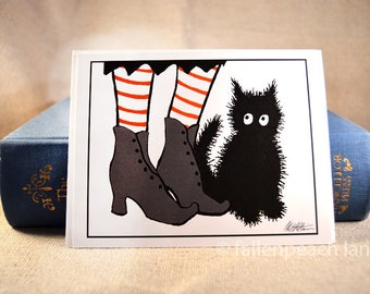 Black Cat Witch's Familiar - Illustrated Blank Greeting Card with Sammy the Cat