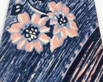 40s Wide Vintage Neck Tie Blue Pastel Pink