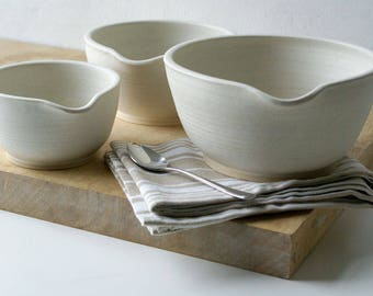 Set of three stacking stoneware batter bowls - hand thrown and glazed in vanilla cream