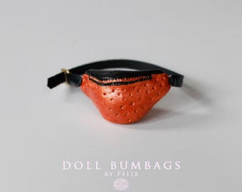 Copper Orange no4 - bum bag - miniature fashion for dolls - Blythe Licca Pullip Dal - handmade doll accessories by MissFelix