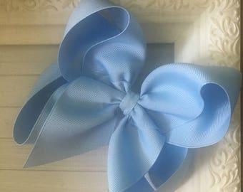 "Classic Soft Pastel Light Sky Powder Baby Blue X Large Boutique Hair Bow 2.25"" Ribbon ~ m2m Matching Matilda Jane The Adventure Begins BIG"