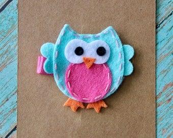 Teal & Pink Owl Hair Clippie