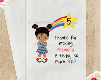 3 PAK African American Girl Rainbow Birthday Party Favor Bags / 5x7 / Candy Popcorn Cookie Gift Bags /Personalized Custom / 3 Day Ship