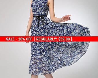 Blue chiffon dress, flower dress, sleeveless dress, maxi dress, prom dress, summer dress, swing dress, womens dresses, gift for women (1251)