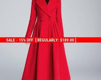 Princess coat, red coat, pleated coat, elegant coat, wool coat, winter jacket, boutique wool coat, lapel coat, stylish coat,fitted coat 1640