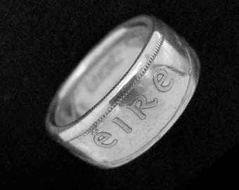 Hand Forged Double Sided Silver (75%) Coin Ring - Ireland Half Crown