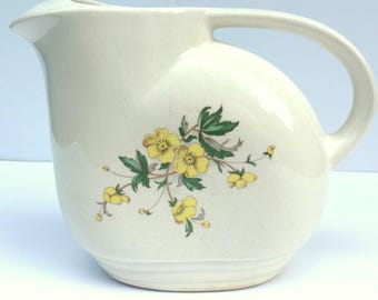 Vintage Knowles Semi China Pitcher, Ice Lip,Yellow Buttercup Pattern,1930's.Utility Ware,Streamline Shape,Water,Beverage,Kitchen,Ivory
