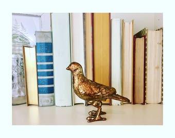 Brass Metal Bird Paperweight Vintage
