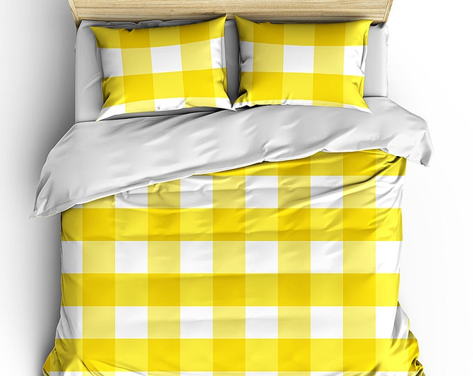 Summer Bed Duvet, Yellow Gingham Check bed set, Teen Room Decor, Cottage Room decor, Cottage style decor, Large gingham check duvet, Pretty