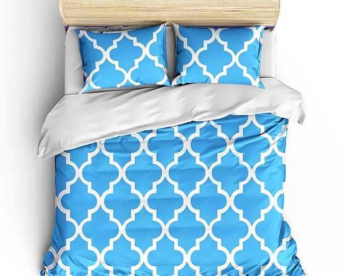 Duvet Bed Set, Bedding Set, Quatrefoil Pattern Bedding, Moroccan Inspired decor, Grad Gift, Dorm Decor, Teen Room Decor, Matching Bed Set