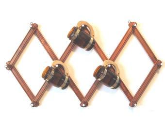 Accordion Peg Rack, Large, Vintage Expandable Wall Rack, Hat Rack, Accessory Rack, Gadget Rack