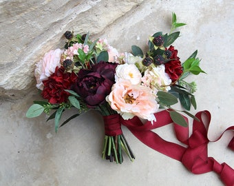 Modern Romance Deep Burgundy and Rose Gold Silk Flower Wedding Bouquet | Garden Style Bridal Bouquet | SG-1041