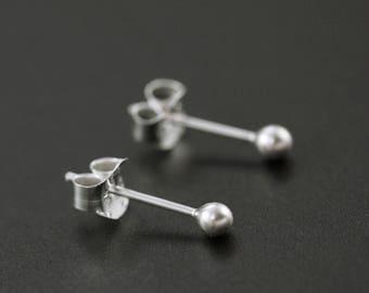 Petite 2mm Ball Post Earrings in Sterling Silver