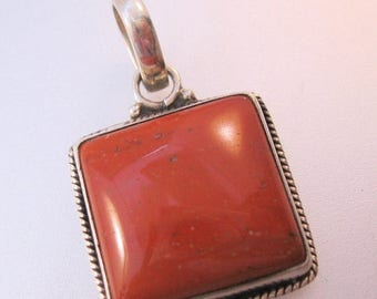 XMAS in JULY SALE Vintage Jasper Sterling Silver Pendant Square Jewelry Jewellery