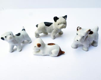 Vintage Dog Figurines, Porcelain Dogs, Miniature Dog Figures, Terrier Dog, French Bulldog, Dog Instant Collection, Made in Japan Dogs