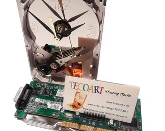 Business Card Holder Hard Drive Clock. Recycled Hard Drive a Unique Gadget, Geek Gifts for Men. Office Award, Office Gift Clock, Desk Clock!