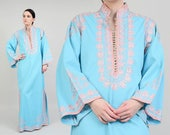 70s Blue Ethnic Caftan Dress | Embroidered Mandarin Collar Bell Sleeve Long Kaftan Pink Silver