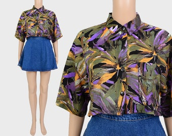 Vintage 90s Cropped Shirt | Tropical Floral Shirt | Abstract Leaf Print Crop Top | Short Sleeve Collared Button Down Blouse | size S M
