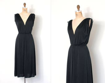 vintage 1970s dress | 70s black rayon jersey dress | sexy low cut (small s)