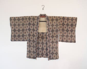 Vintage Haori Kimono Cardigan With Tapestry Pattern Black Orange On White Ground 三