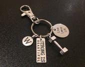 Fitness charm keyring, strong is beautiful, dumbbell, live love lift, letter charms, personalised keyring UK