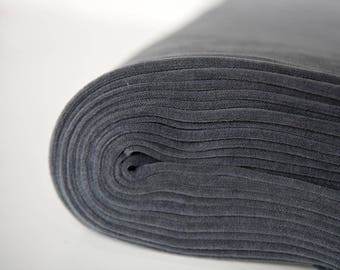 Grey velvet fabric in organic cotton. Dark gray, solid grey, velour fabric by the meter.