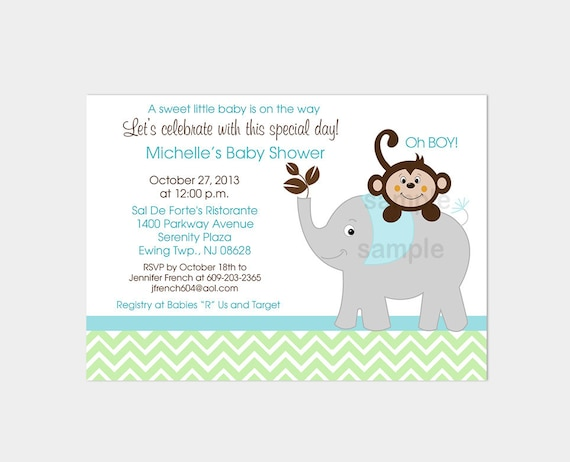 Elephant and Monkey Baby Shower Invitations Gray Green Blue