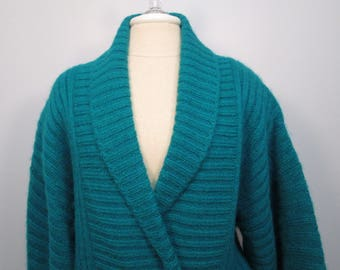 Vintage I.B. Diffusion Teal Green Mohair Blend  Sweater Sz L