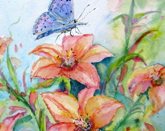 butterfly giclee print, blue butterfly in lilies watercolor print,garden art,butterfly painting,butterfly watercolor art,small giclee prints