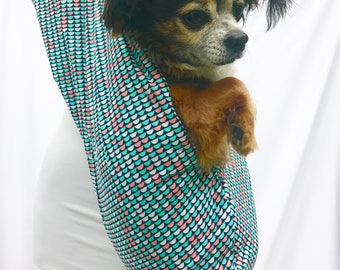 Pet Dog Sling Carrier Green Mermaid Fabric