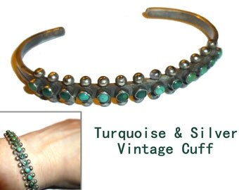 Turquoise and Silver Vintage Hand-wrought Bracelet. Estate. Petite Modernist Southwest Cuff Bracelet. 1950s. Unmarked.