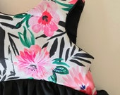 Black, White and Pink Tropical---Cropped Top, Tunic, or Dress