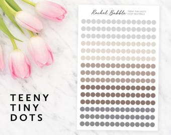 Teeny Tiny Dot Stickers, Circle Planner Stickers, Erin Condren Stickers, ECLP Planner Stickers, Happy Planner Stickers, Cozy Neutrals