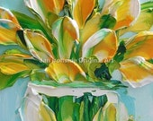 Oil Painting , tulips , Palette Knife , Jan Ironside , wall art, impasto painting, texture painting, canvas art