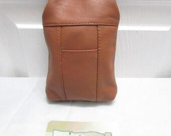 Vintage NOS Brown Pebbled Genuine Leather Cigarette Case With Lighter Pocket-Leather Cigarettes Case-Brown Leather Cigarettes Case