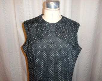 Vintage Ladies Dress Black w/ Tiny White Polka Dots Jane Victor