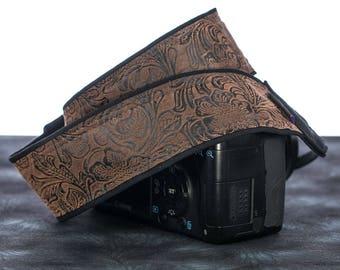 Western Camera Strap, Faux Leather, Brown Floral, Men or Women, Pocket, SLR, 197 w