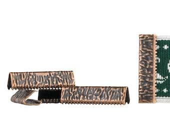 500pcs.  25mm or 1 inch - Antique Copper No Loop Ribbon Clamp End Crimps - Artisan Series