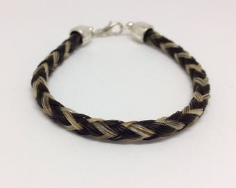 Gray/Black Horse Hair Braided Horsehair Bracelet - 6MM Round Braid