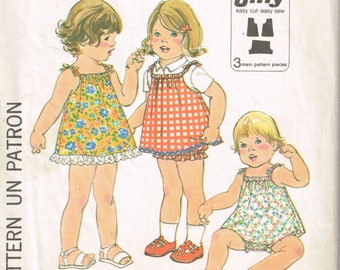 70s Toddler Dress or Jumper and Bloomers Pattern Simplicity 8048 Size 3 Jiffy Dress Easy to Sew Toddler Clothes Vintage 1977 Sewing Pattern