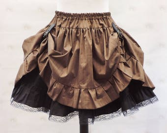 Brown Steampunk asymetric skirt - steampunk clothing-pirate skirt-brown pinstripes skirt- western country skirt- retro costume