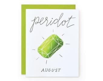 Peridot/August - letterpress card